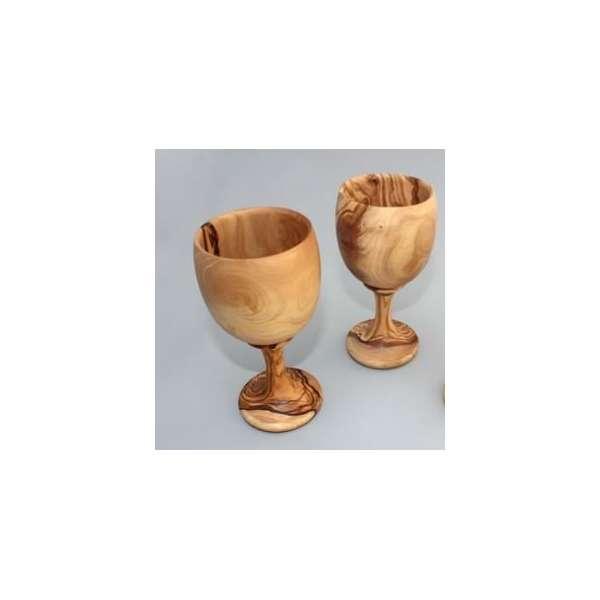 Olive Wood Wine Glass set of 2